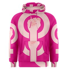Women Safety Feminist Nail Strong Pink Circle Polka Men s Pullover Hoodie by Mariart