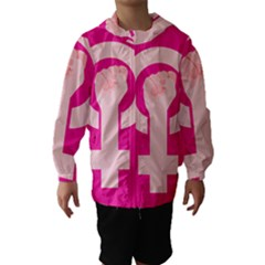 Women Safety Feminist Nail Strong Pink Circle Polka Hooded Wind Breaker (kids) by Mariart