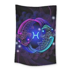Sign Pisces Zodiac Small Tapestry by Mariart