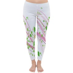 Sunflower Flower Floral Leaf Line Wave Chevron Pink Classic Winter Leggings by Mariart