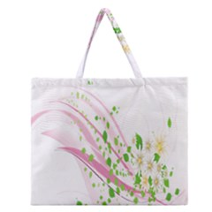 Sunflower Flower Floral Leaf Line Wave Chevron Pink Zipper Large Tote Bag by Mariart