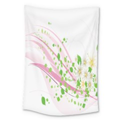 Sunflower Flower Floral Leaf Line Wave Chevron Pink Large Tapestry by Mariart