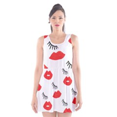 Smooch Pattern Design Scoop Neck Skater Dress