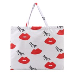 Smooch Pattern Design Zipper Large Tote Bag by Nexatart