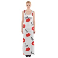 Smooch Pattern Design Maxi Thigh Split Dress