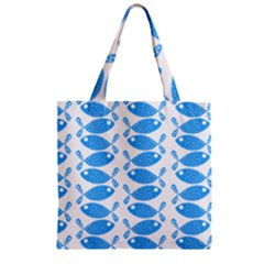 Fish Pattern Background Zipper Grocery Tote Bag
