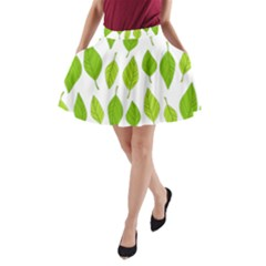 Spring Pattern A Line Pocket Skirt