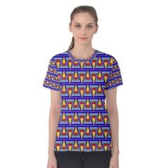 Seamless Prismatic Pythagorean Pattern Women s Cotton Tee