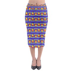 Seamless Prismatic Pythagorean Pattern Midi Pencil Skirt