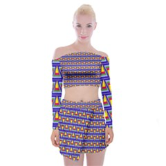 Seamless Prismatic Pythagorean Pattern Off Shoulder Top With Skirt Set