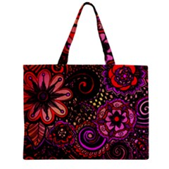 Sunset Floral Zipper Mini Tote Bag by Nexatart