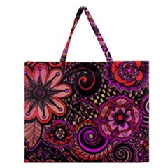 Sunset Floral Zipper Large Tote Bag by Nexatart