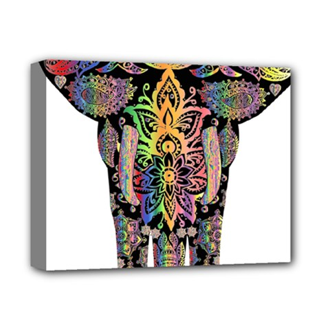 Prismatic Floral Pattern Elephant Deluxe Canvas 14  X 11  by Nexatart