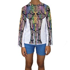 Prismatic Floral Pattern Elephant Kids  Long Sleeve Swimwear by Nexatart