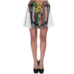 Prismatic Floral Pattern Elephant Skater Skirt
