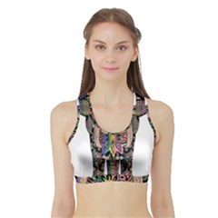 Prismatic Floral Pattern Elephant Sports Bra With Border by Nexatart
