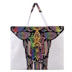 Prismatic Floral Pattern Elephant Zipper Large Tote Bag by Nexatart