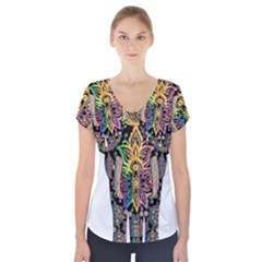 Prismatic Floral Pattern Elephant Short Sleeve Front Detail Top