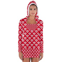 Diamond Pattern Women s Long Sleeve Hooded T Shirt