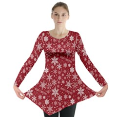 Merry Christmas Pattern Long Sleeve Tunic