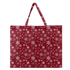 Merry Christmas Pattern Zipper Large Tote Bag by Nexatart