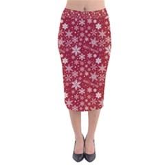Merry Christmas Pattern Velvet Midi Pencil Skirt