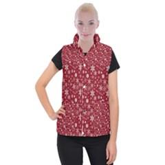 Merry Christmas Pattern Women s Button Up Puffer Vest