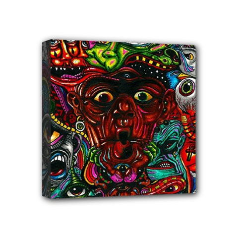 Abstract Psychedelic Face Nightmare Eyes Font Horror Fantasy Artwork Mini Canvas 4  X 4  by Nexatart
