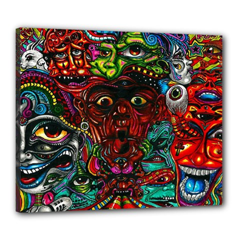 Abstract Psychedelic Face Nightmare Eyes Font Horror Fantasy Artwork Canvas 24  X 20  by Nexatart