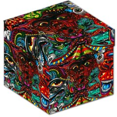 Abstract Psychedelic Face Nightmare Eyes Font Horror Fantasy Artwork Storage Stool 12   by Nexatart