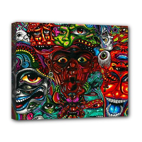 Abstract Psychedelic Face Nightmare Eyes Font Horror Fantasy Artwork Deluxe Canvas 20  X 16   by Nexatart
