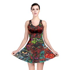 Abstract Psychedelic Face Nightmare Eyes Font Horror Fantasy Artwork Reversible Skater Dress