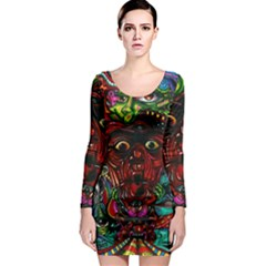 Abstract Psychedelic Face Nightmare Eyes Font Horror Fantasy Artwork Long Sleeve Bodycon Dress