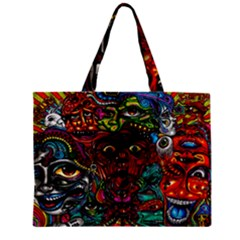 Abstract Psychedelic Face Nightmare Eyes Font Horror Fantasy Artwork Mini Tote Bag by Nexatart