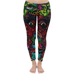 Abstract Psychedelic Face Nightmare Eyes Font Horror Fantasy Artwork Classic Winter Leggings