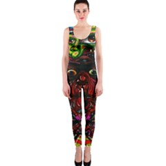 Abstract Psychedelic Face Nightmare Eyes Font Horror Fantasy Artwork Onepiece Catsuit