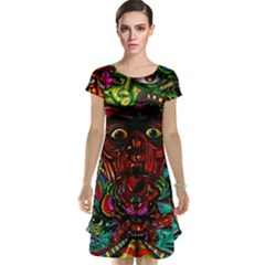 Abstract Psychedelic Face Nightmare Eyes Font Horror Fantasy Artwork Cap Sleeve Nightdress