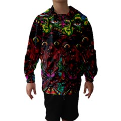 Abstract Psychedelic Face Nightmare Eyes Font Horror Fantasy Artwork Hooded Wind Breaker (kids)