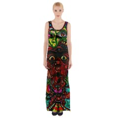 Abstract Psychedelic Face Nightmare Eyes Font Horror Fantasy Artwork Maxi Thigh Split Dress