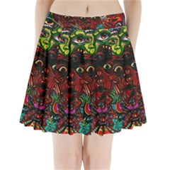 Abstract Psychedelic Face Nightmare Eyes Font Horror Fantasy Artwork Pleated Mini Skirt