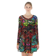Abstract Psychedelic Face Nightmare Eyes Font Horror Fantasy Artwork Long Sleeve Velvet V Neck Dress