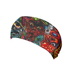 Abstract Psychedelic Face Nightmare Eyes Font Horror Fantasy Artwork Yoga Headband