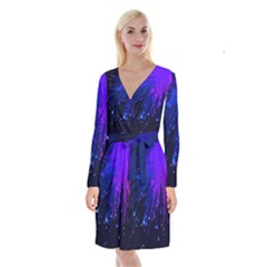 Big Bang Long Sleeve Velvet Front Wrap Dress by ValentinaDesign
