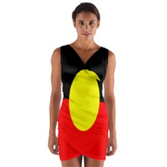 Flag Of Australian Aborigines Wrap Front Bodycon Dress