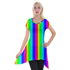 Rainbow Gradient Short Sleeve Side Drop Tunic