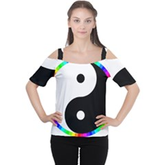 Rainbow Around Yinyang Women s Cutout Shoulder Tee
