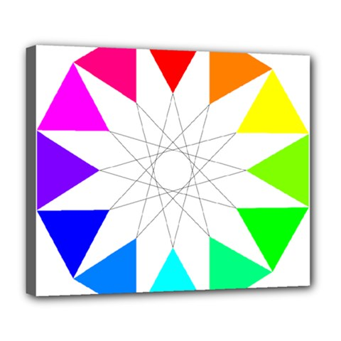 Rainbow Dodecagon And Black Dodecagram Deluxe Canvas 24  X 20   by Nexatart