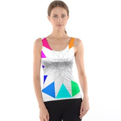 Rainbow Dodecagon And Black Dodecagram Tank Top