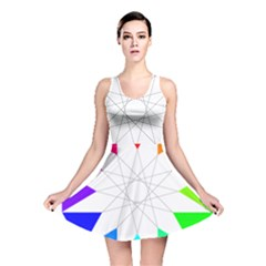 Rainbow Dodecagon And Black Dodecagram Reversible Skater Dress