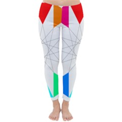 Rainbow Dodecagon And Black Dodecagram Classic Winter Leggings